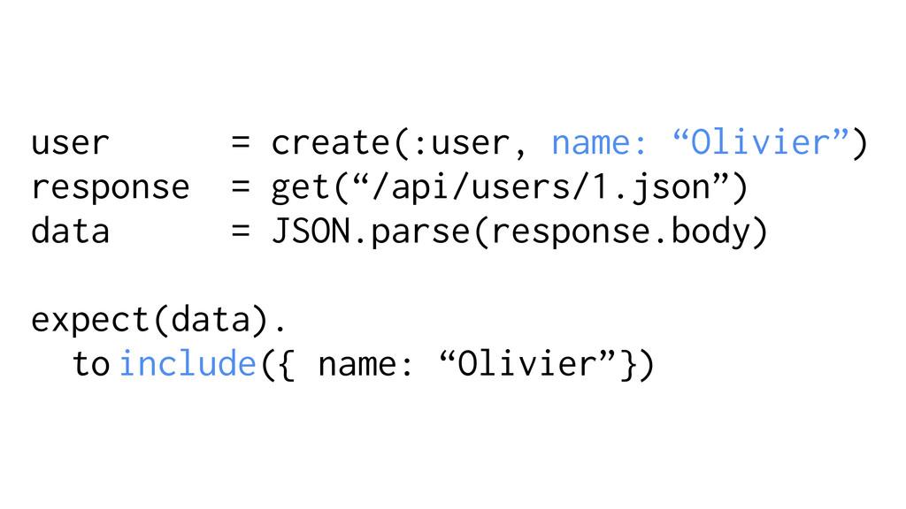 """user = create(:user, name: """"Olivier"""") response ..."""