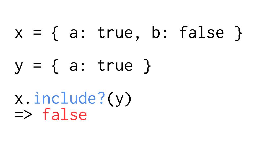 x = { a: true, b: false } ! y = { a: true } ! x...