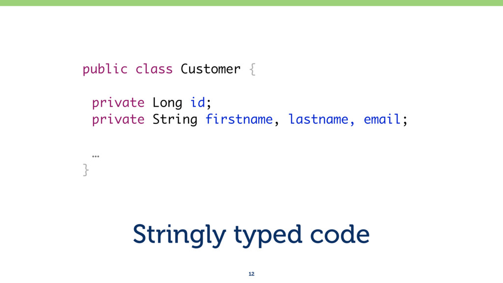 Stringly typed code 12 public class Customer { ...