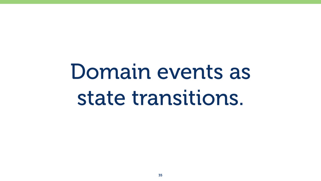 Domain events as state transitions. 35