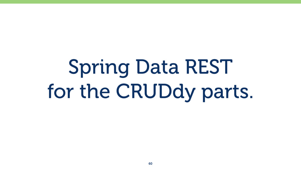 Spring Data REST for the CRUDdy parts. 60