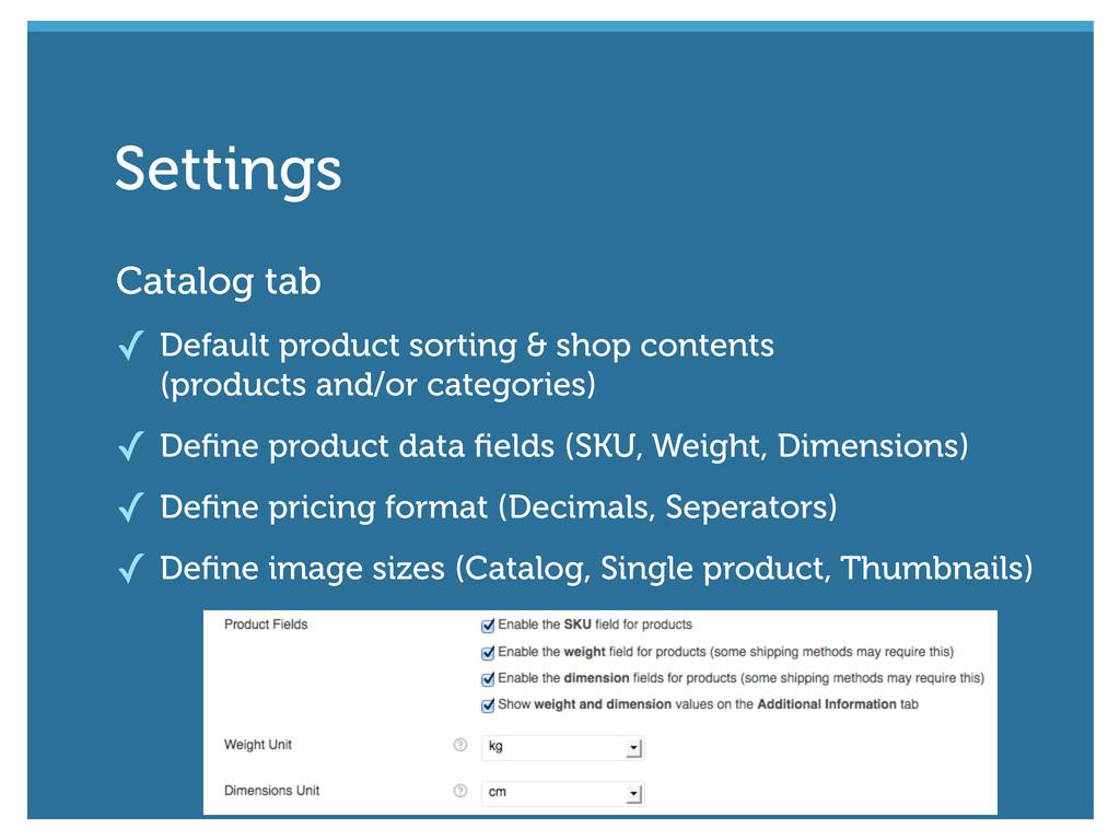Catalog tab ✓ Default product sorting & shop co...