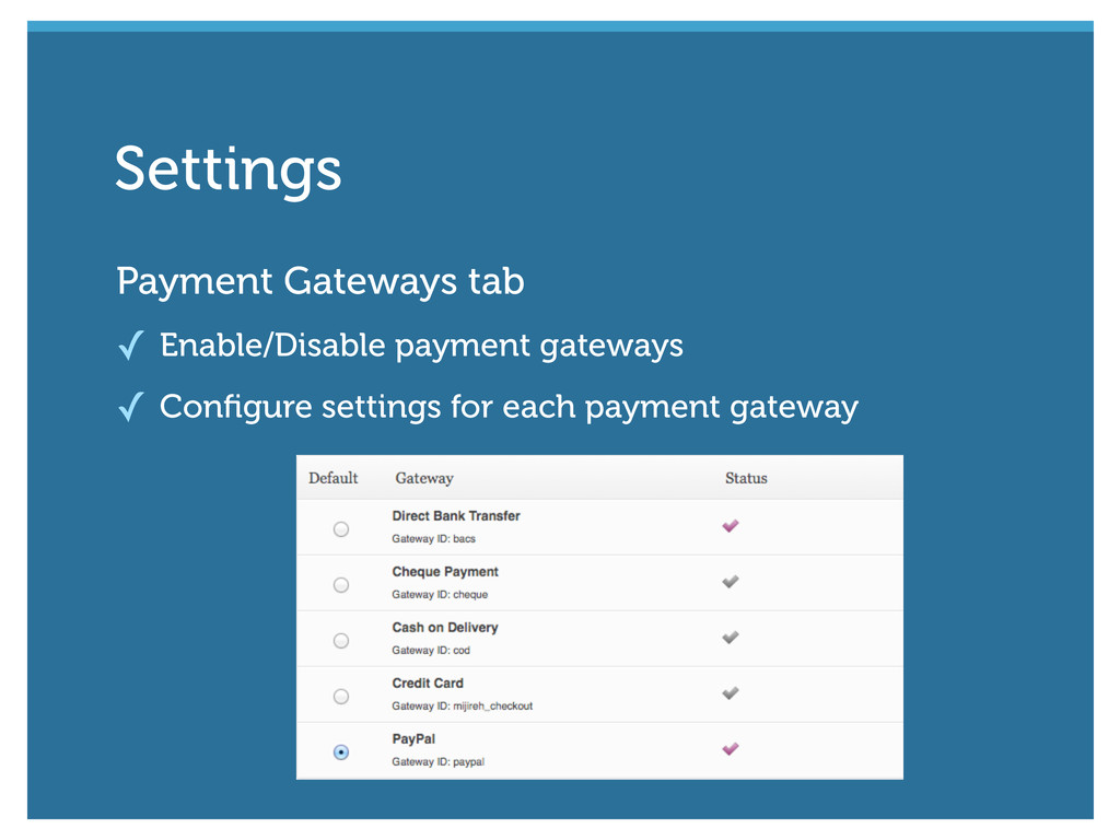 Payment Gateways tab ✓ Enable/Disable payment g...
