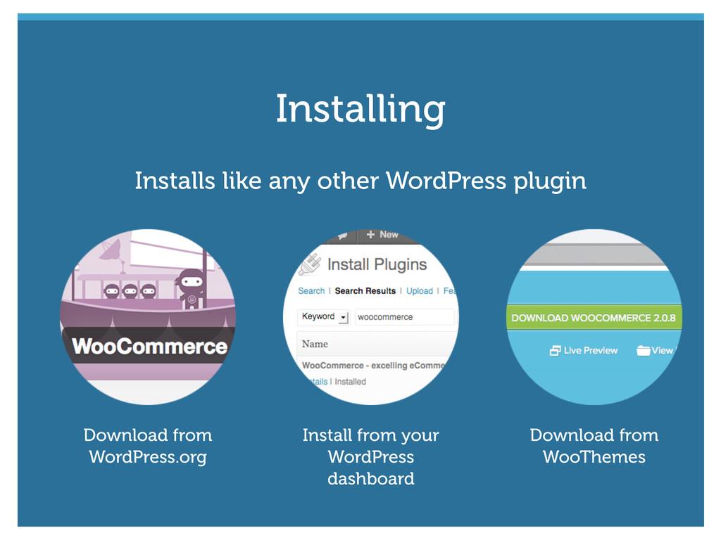 Installs like any other WordPress plugin Downlo...