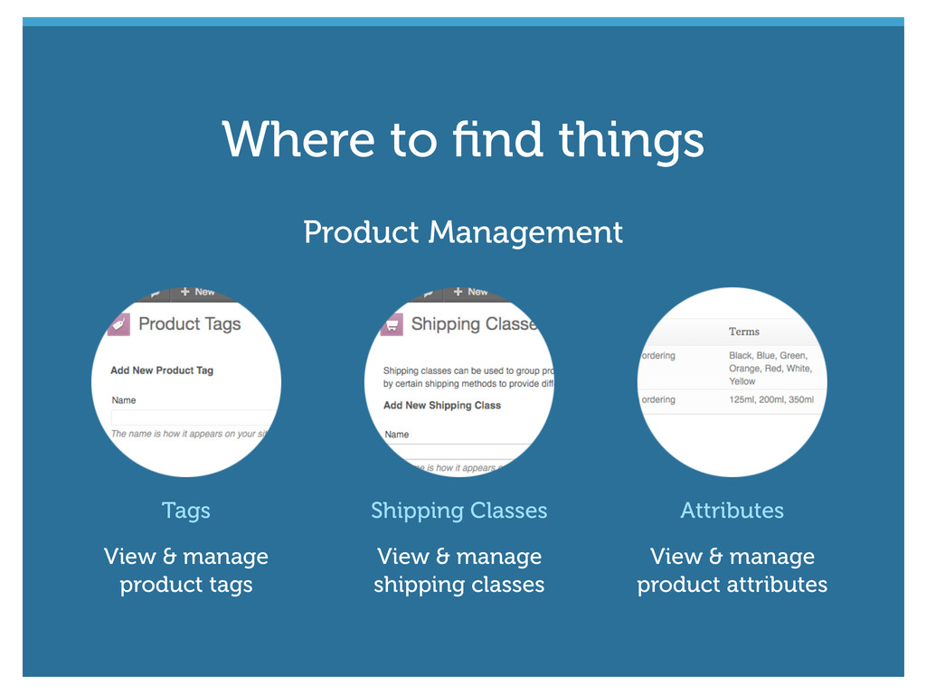 Tags View & manage product tags Shipping Classe...