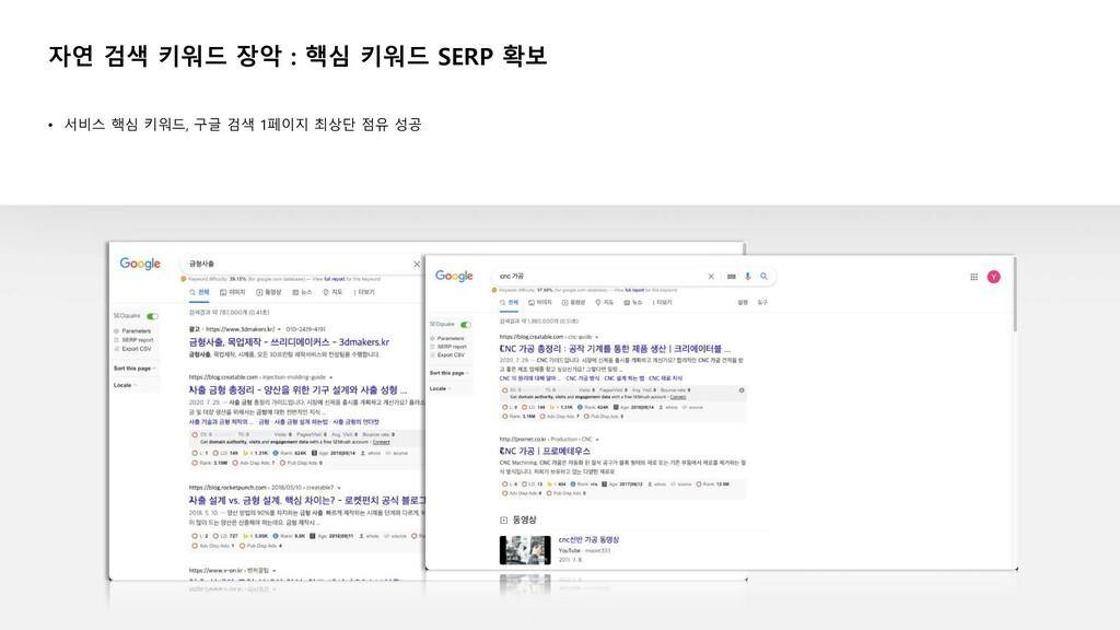 • 서비스 핵심 키워드, 구글 검색 1페이지 최상단 점유 성공 자연 검색 키워드 장악...