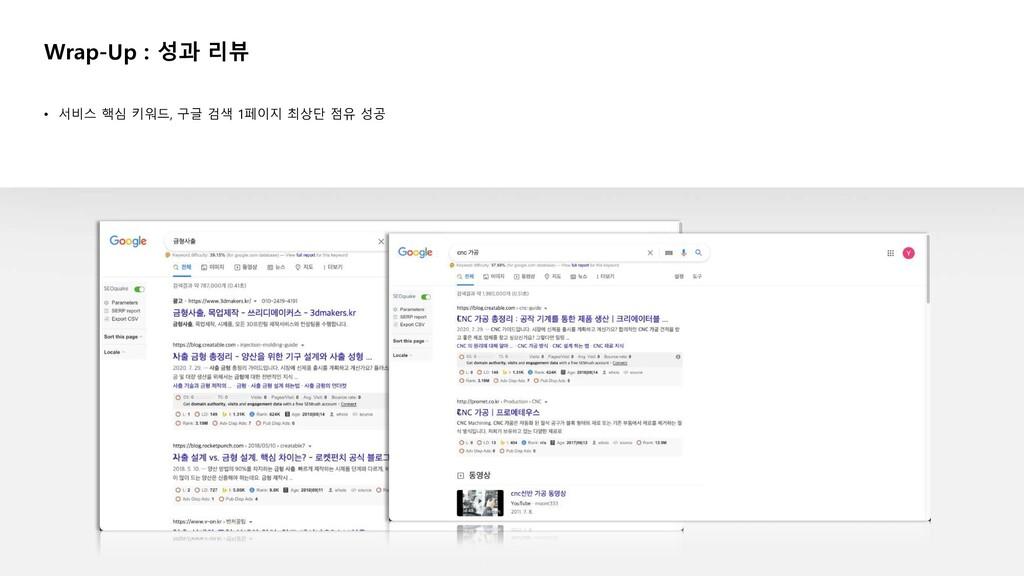• 서비스 핵심 키워드, 구글 검색 1페이지 최상단 점유 성공 Wrap-Up : 성과...