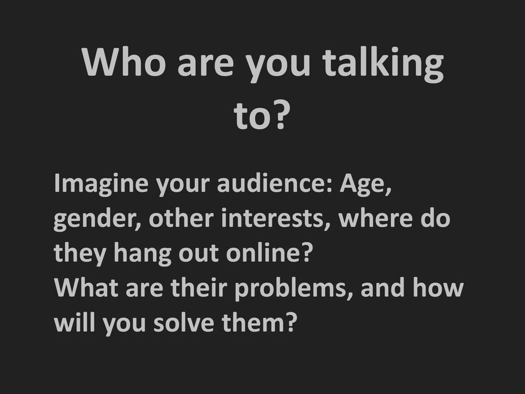 Who are you talking  to?  Imagin...
