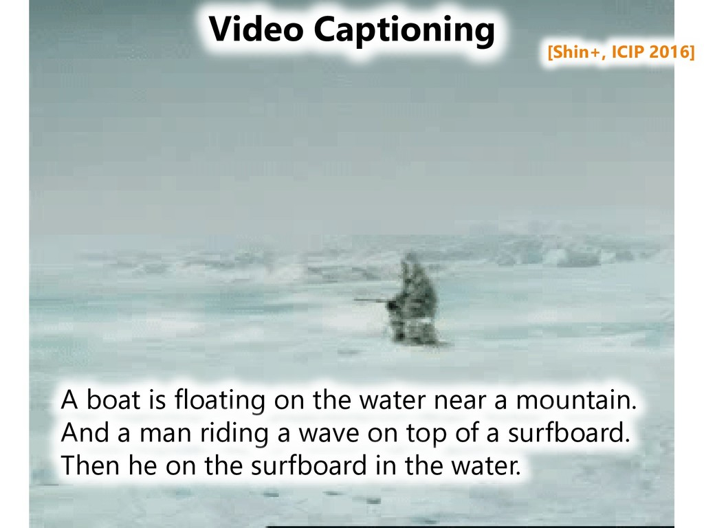 Video Captioning A boat is floating on the wate...