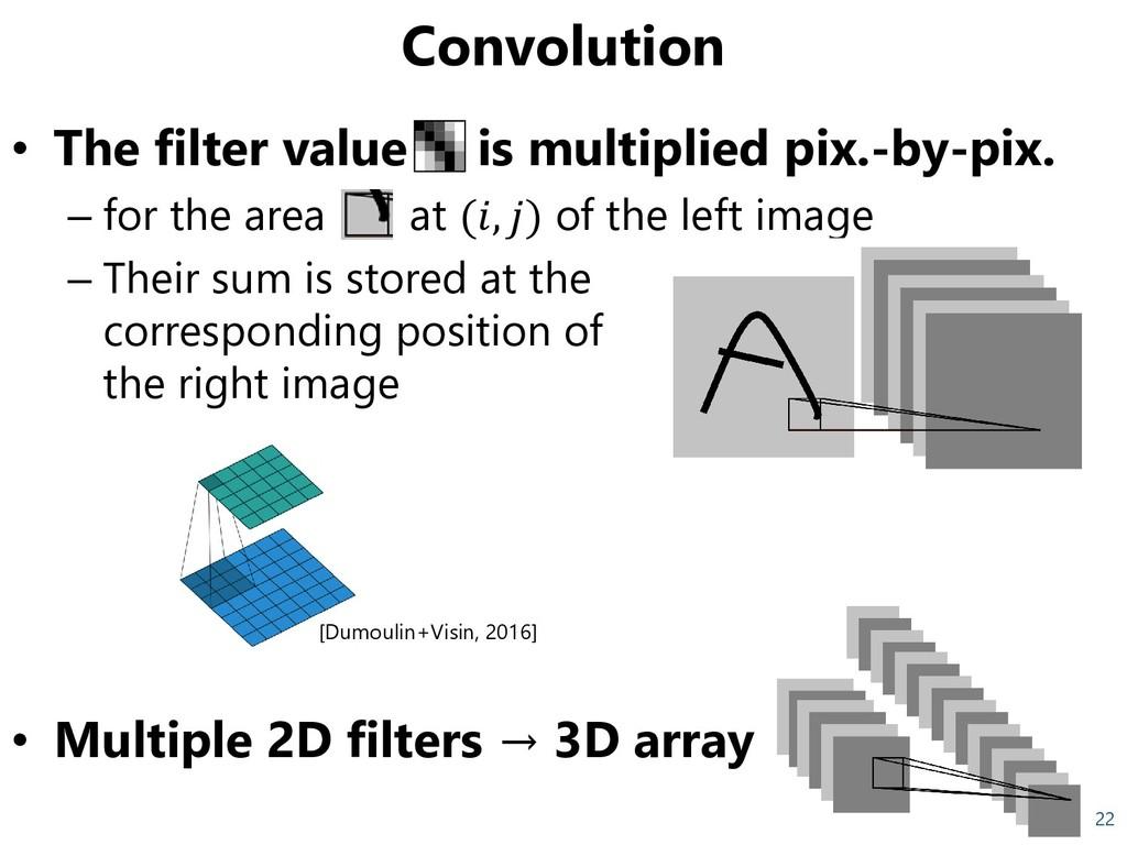 Convolution • The filter value is multiplied pi...