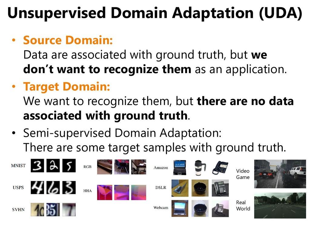 Unsupervised Domain Adaptation (UDA) • Source D...