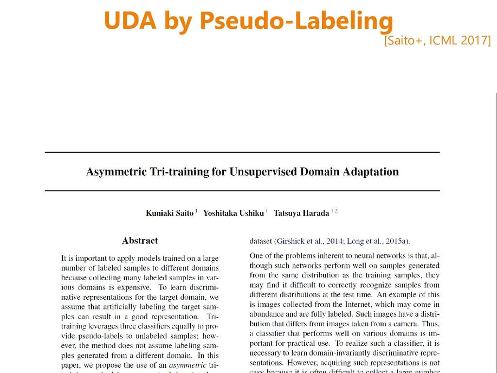 UDA by Pseudo-Labeling [Saito+, ICML 2017]