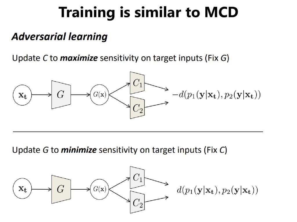 Training is similar to MCD