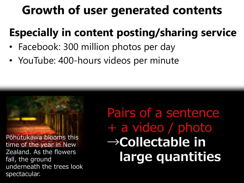 Growth of user generated contents Especially in...