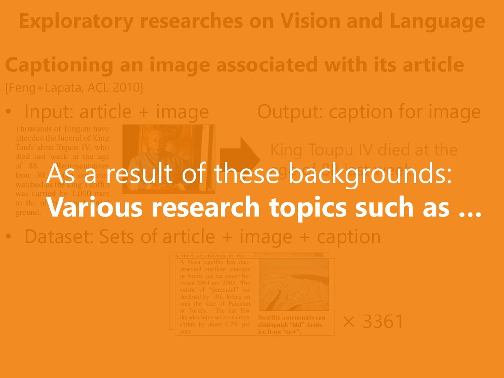 Exploratory researches on Vision and Language C...