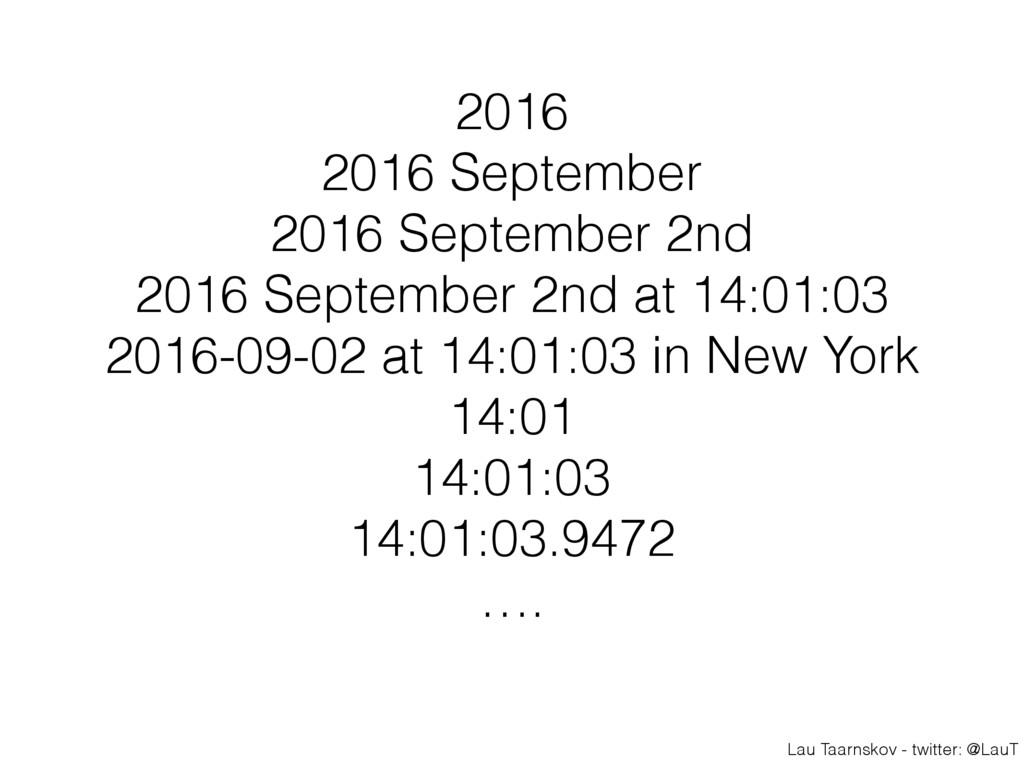 Lau Taarnskov - twitter: @LauT 2016 2016 Septem...