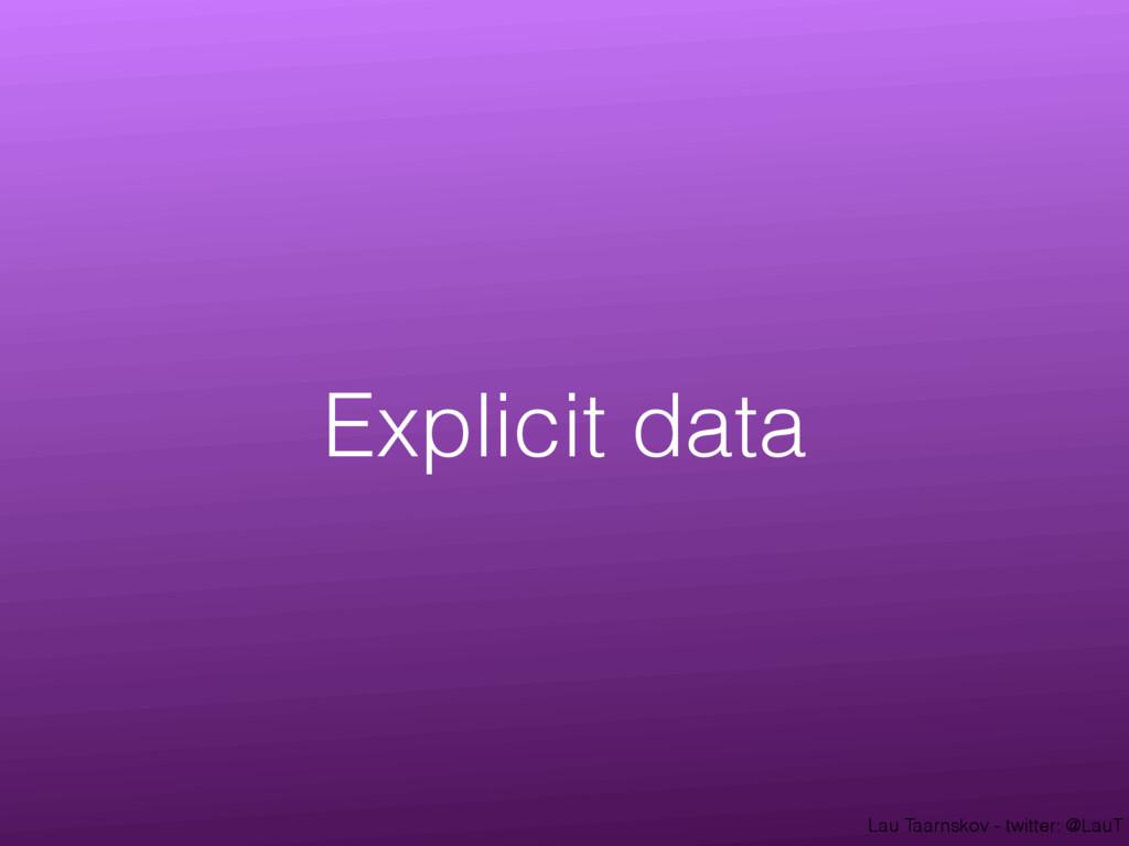 Lau Taarnskov - twitter: @LauT Explicit data