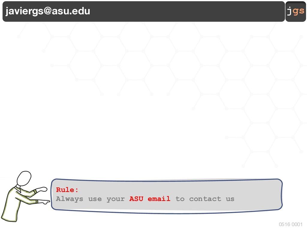 jgs 0516 0001 javiergs@asu.edu Rule: Always use...