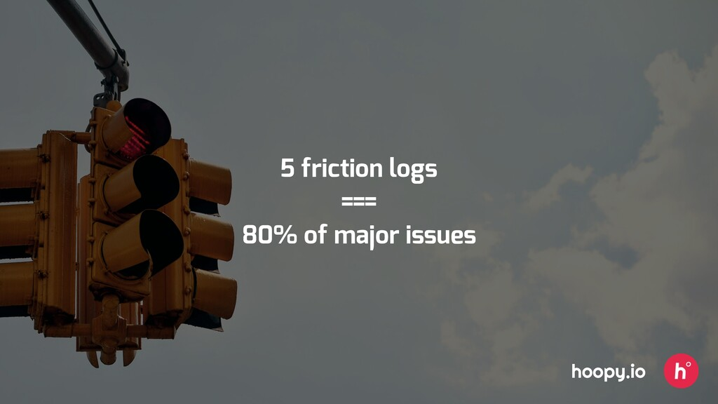 5 friction logs === 80% of major issues hoopy.io