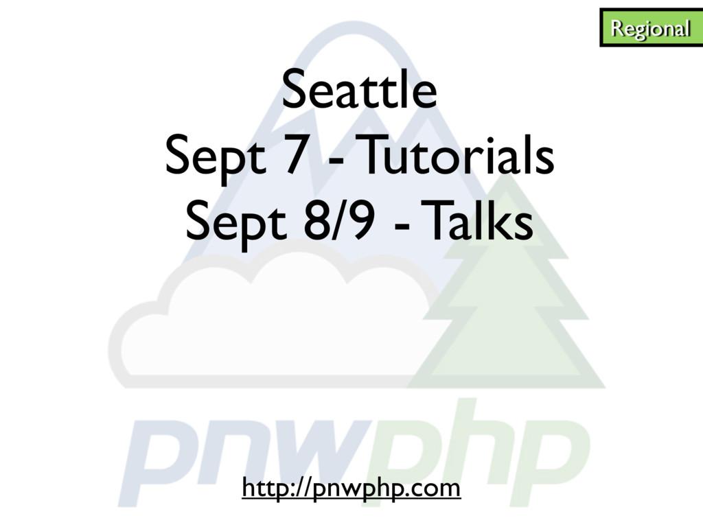 Seattle Sept 7 - Tutorials Sept 8/9 - Talks Reg...