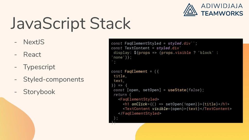 JavaScript Stack - NextJS - React - Typescript ...