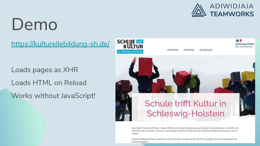 Demo https://kulturellebildung-sh.de/ Loads pag...