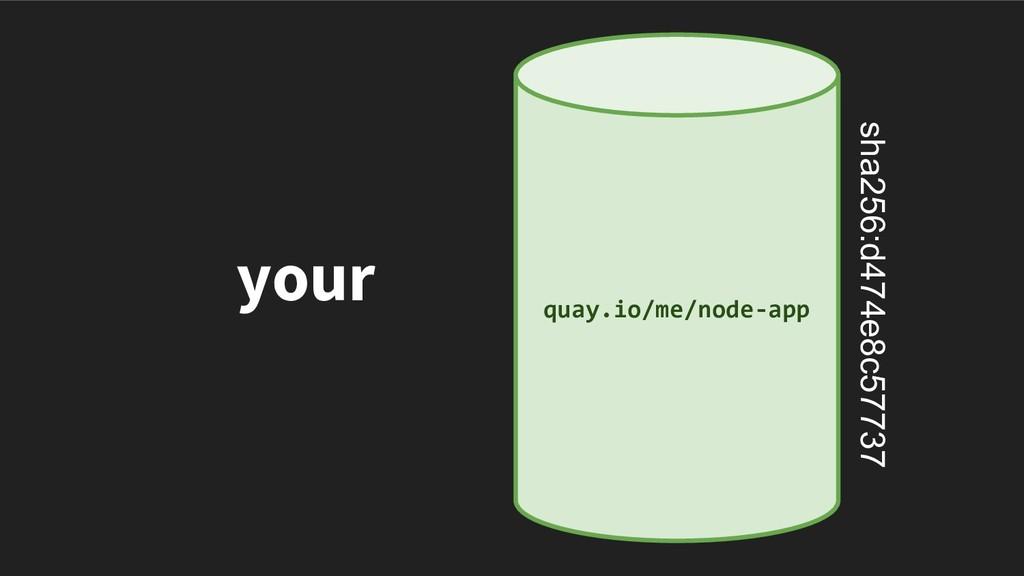 your quay.io/me/node-app sha256:d474e8c57737