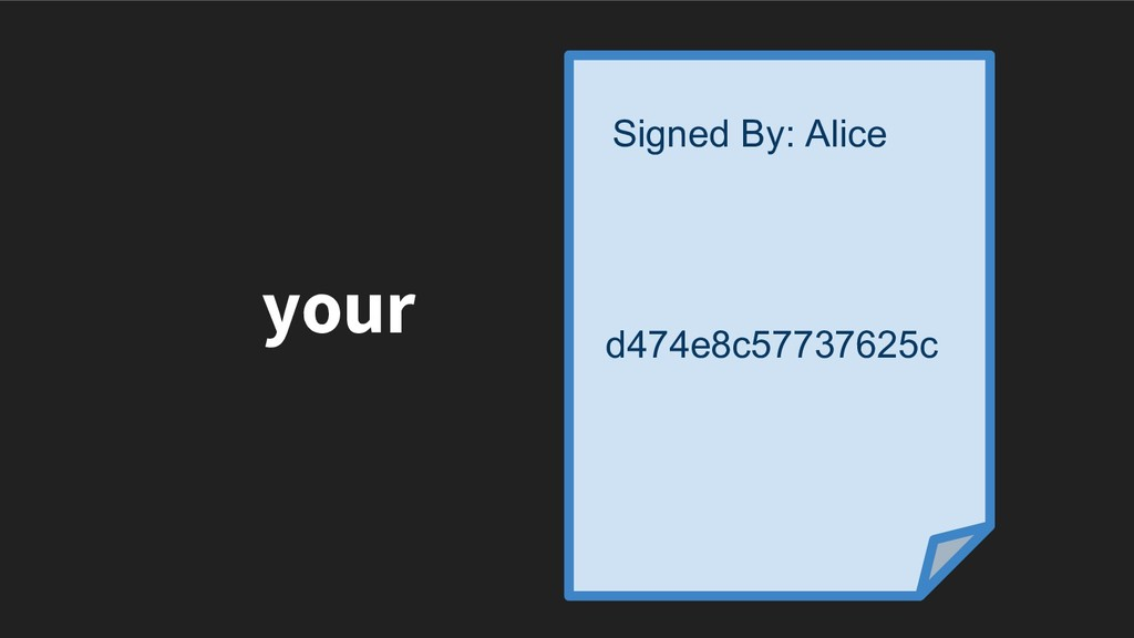 your d474e8c57737625c Signed By: Alice