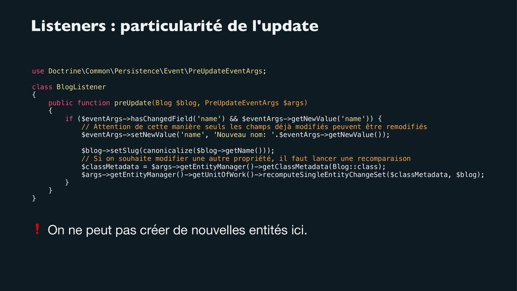 Listeners : particularité de l'update use Doctr...