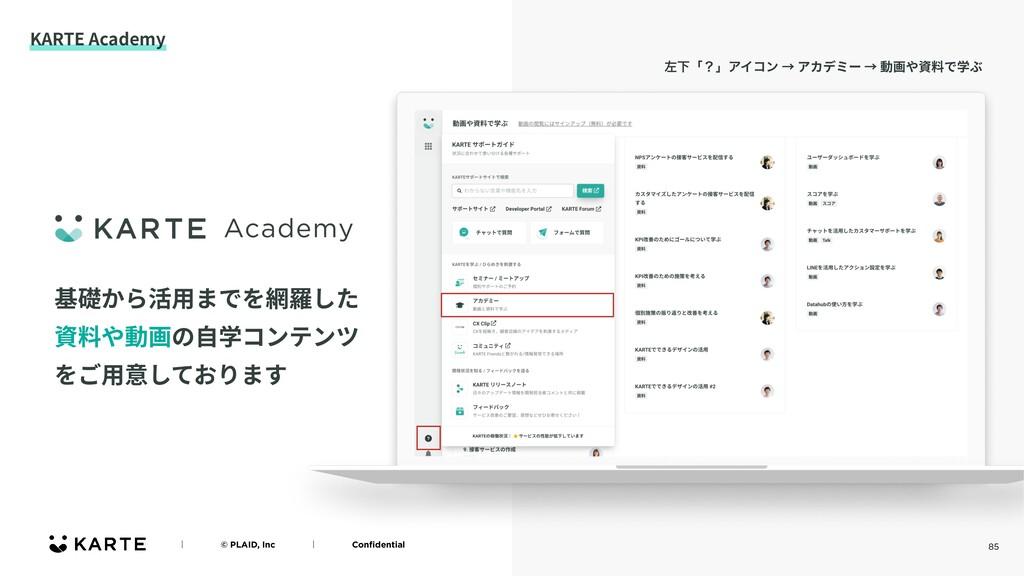 85 KARTE Academy ʛɹɹɹɹ© PLAID, IncɹɹɹɹʛɹɹɹɹConfi...