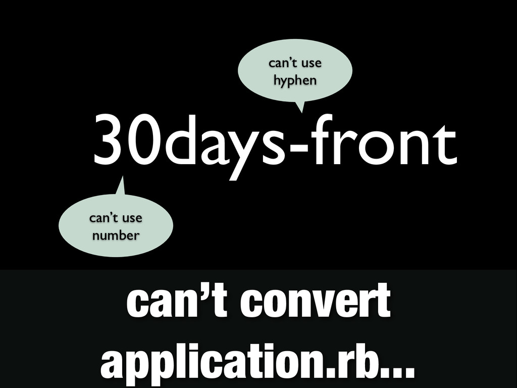 30days-front can't use hyphen can't use number ...