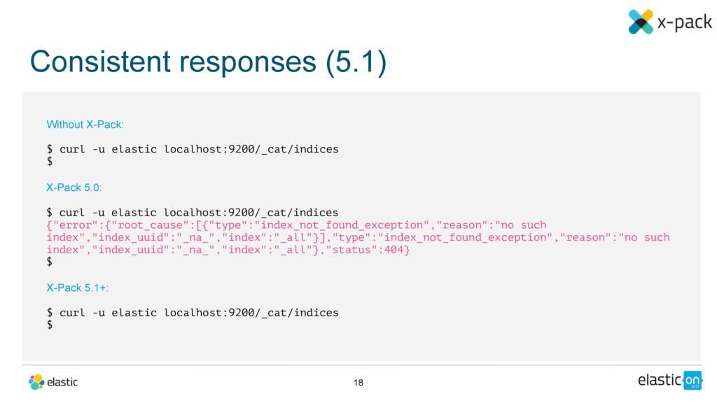 Consistent responses (5.1) 18 X-Pack 5.0: $ cur...