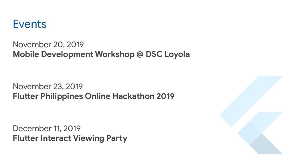 Events November 20, 2019 Mobile Development Wor...
