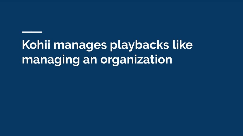 Kohii manages playbacks like managing an organi...
