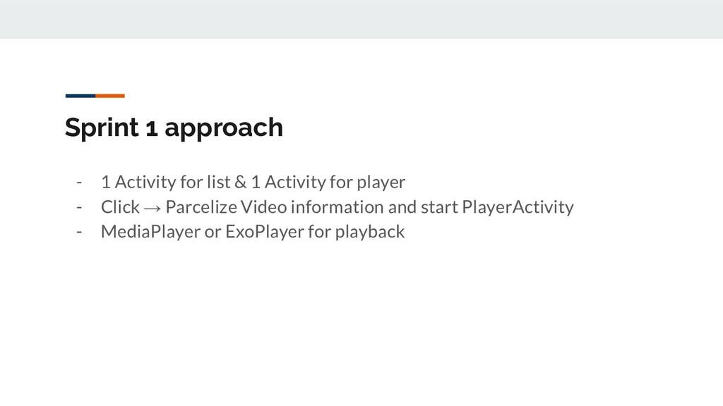 Sprint 1 approach - 1 Activity for list & 1 Act...