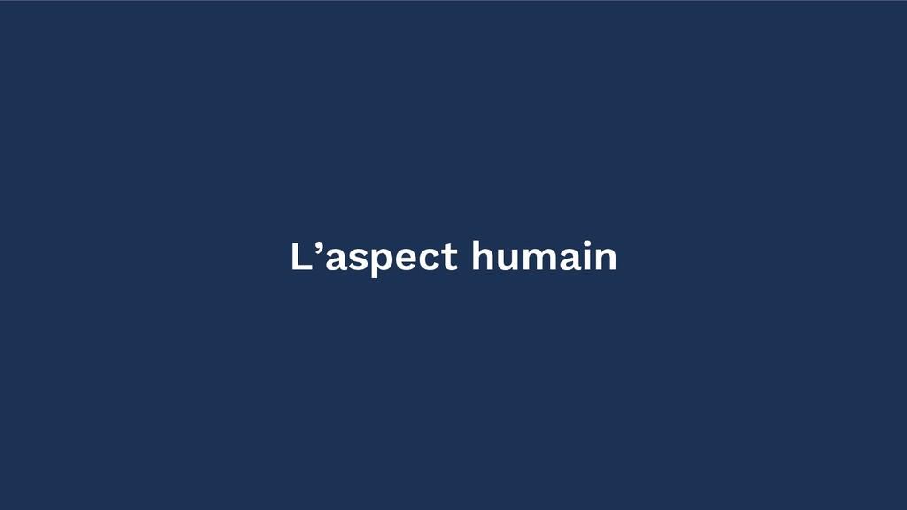 L'aspect humain