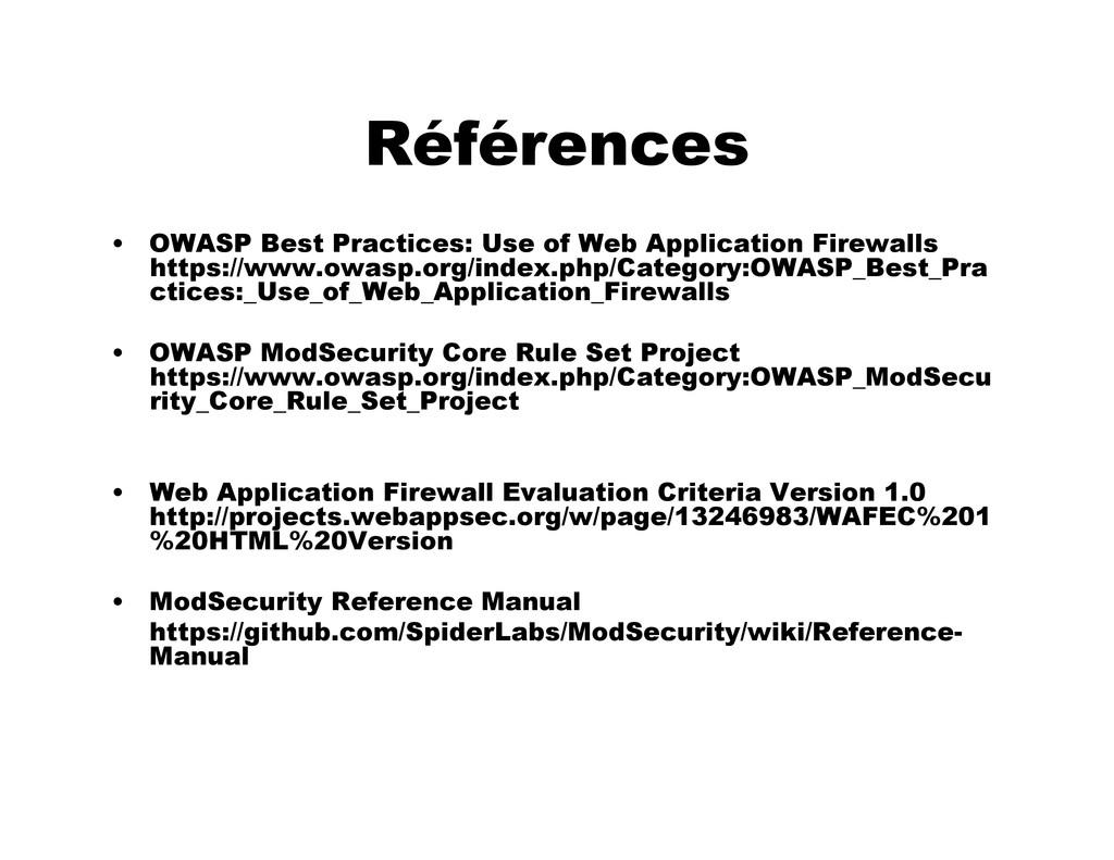 Références • OWASP Best Practices: Use of Web A...