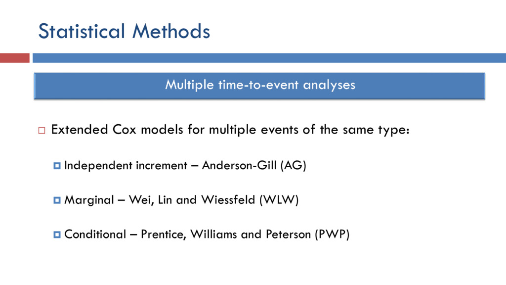 Statistical Methods  Extended Cox models for m...