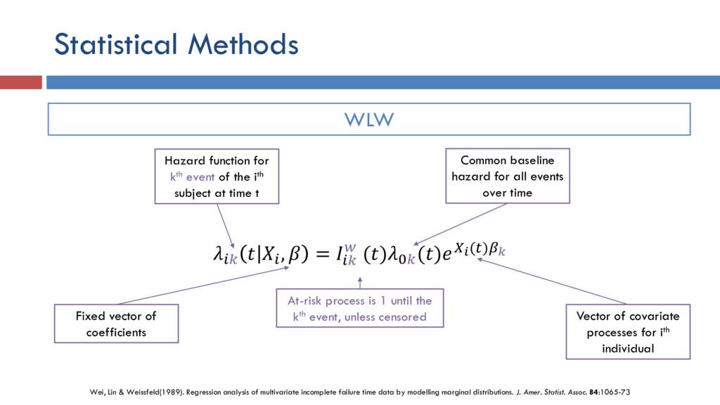 Statistical Methods    ,  =   ()0 ()() WLW Haza...