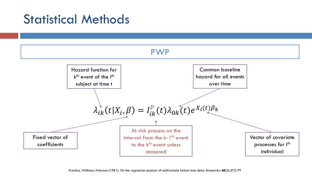 Statistical Methods    ,  =    ()0 ()() PWP Haz...
