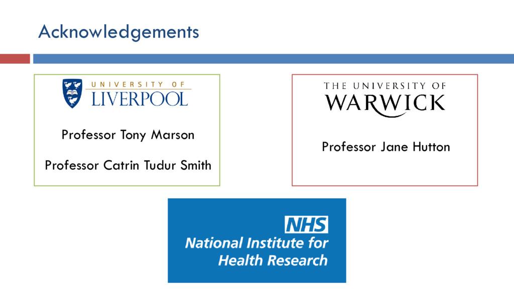 Acknowledgements Professor Tony Marson Professo...