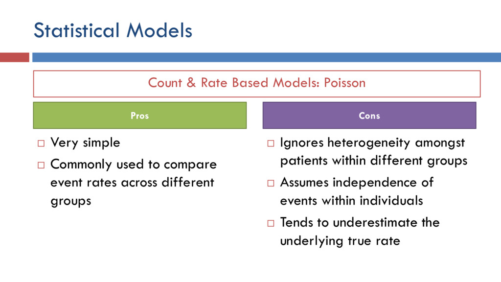 Count & Rate Based Models: Poisson Statistical ...