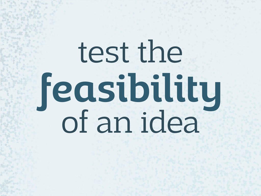 test the feasibility of an idea