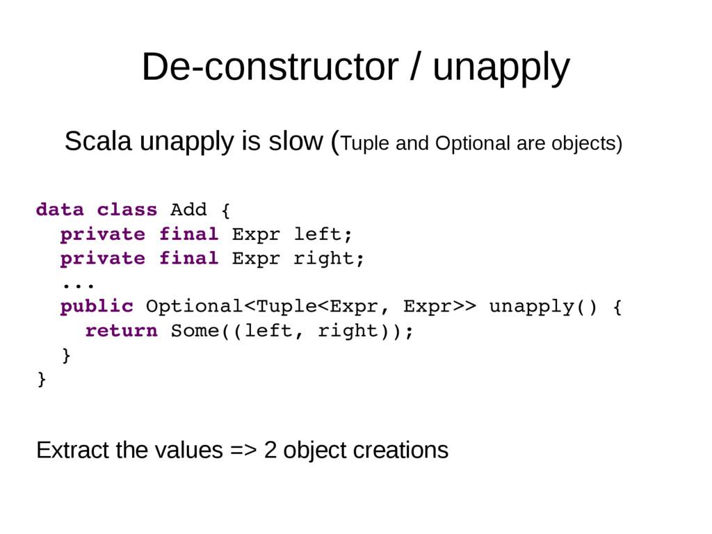 De-constructor / unapply Scala unapply is slow ...