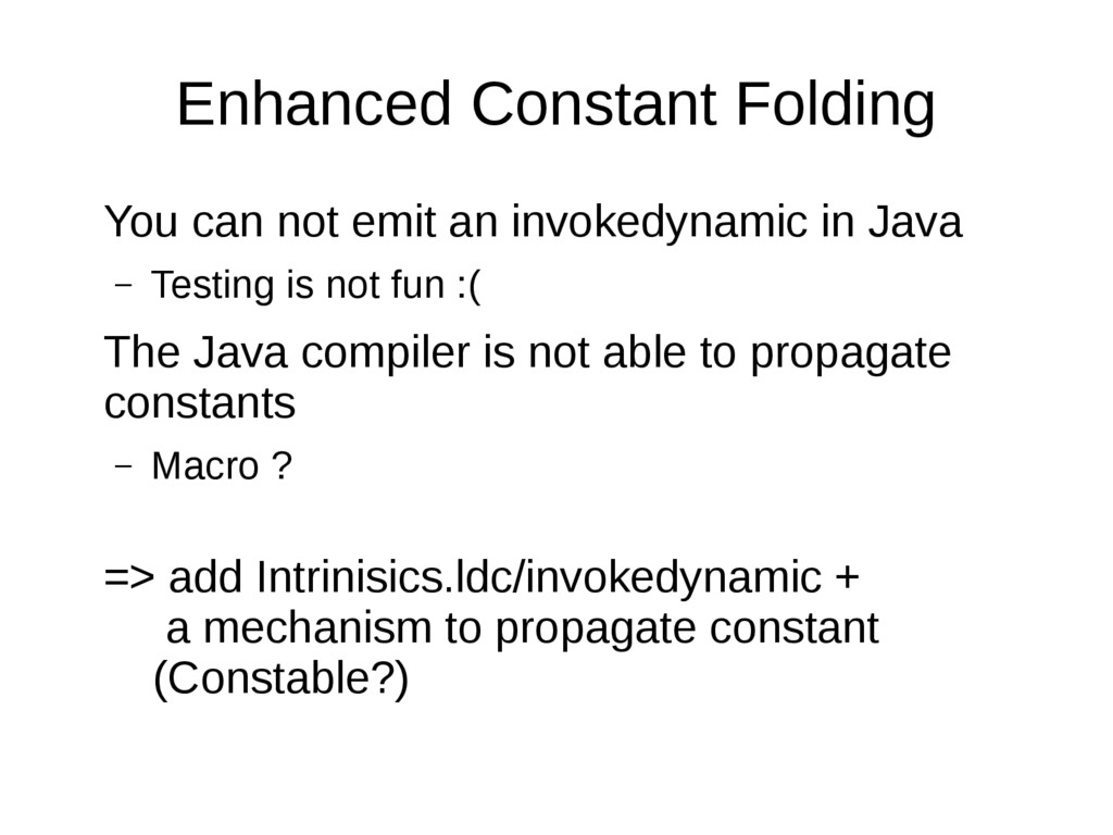 Enhanced Constant Folding You can not emit an i...