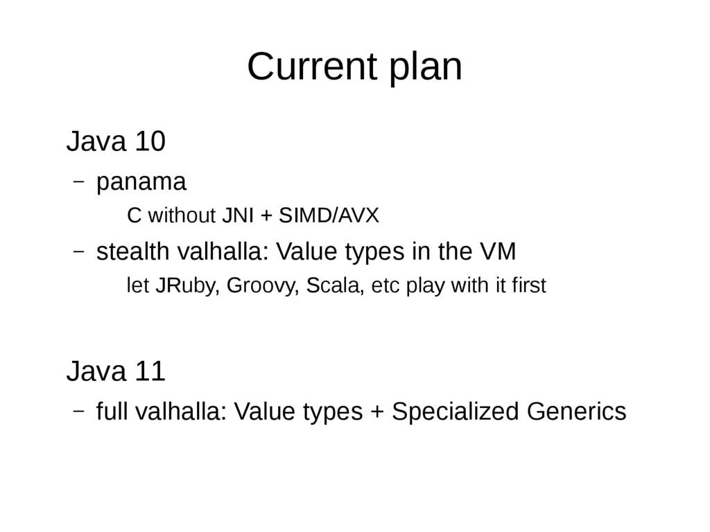 Current plan Java 10 – panama C without JNI + S...