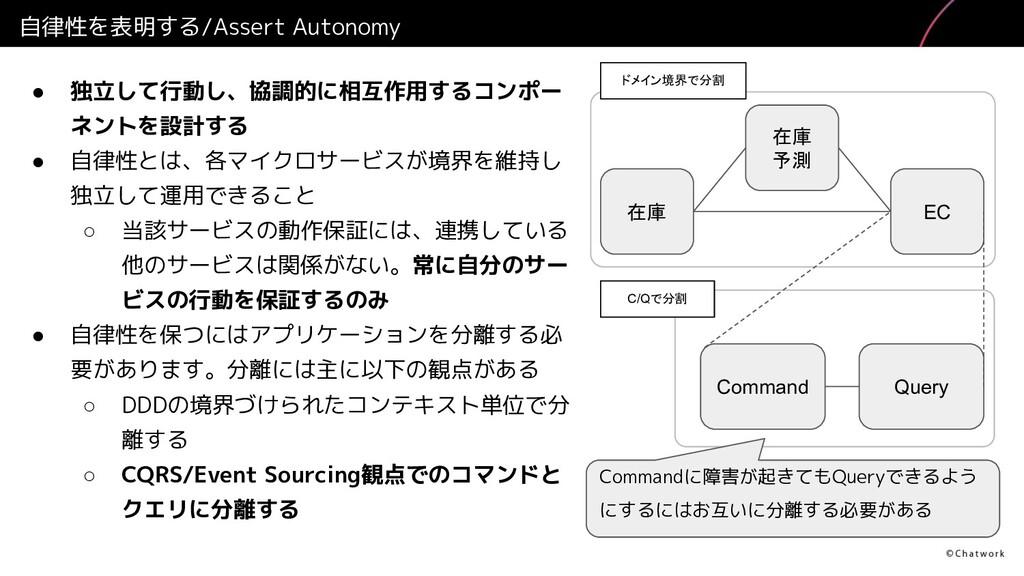 自律性を表明する/Assert Autonomy ● 独立して行動し、協調的に相互作用するコン...