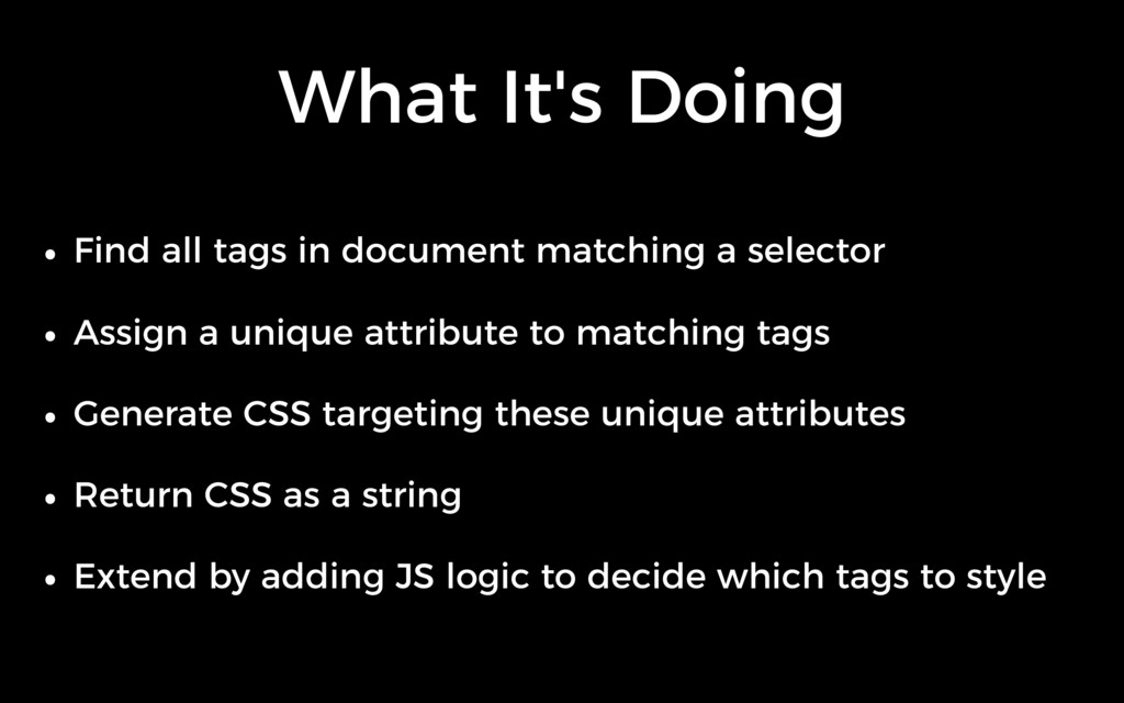 What It's Doing • Find all tags in document mat...