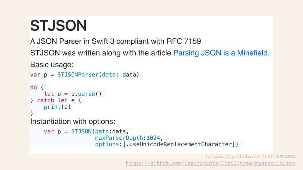 STJSON A JSON Parser in Swift 3 compliant with ...