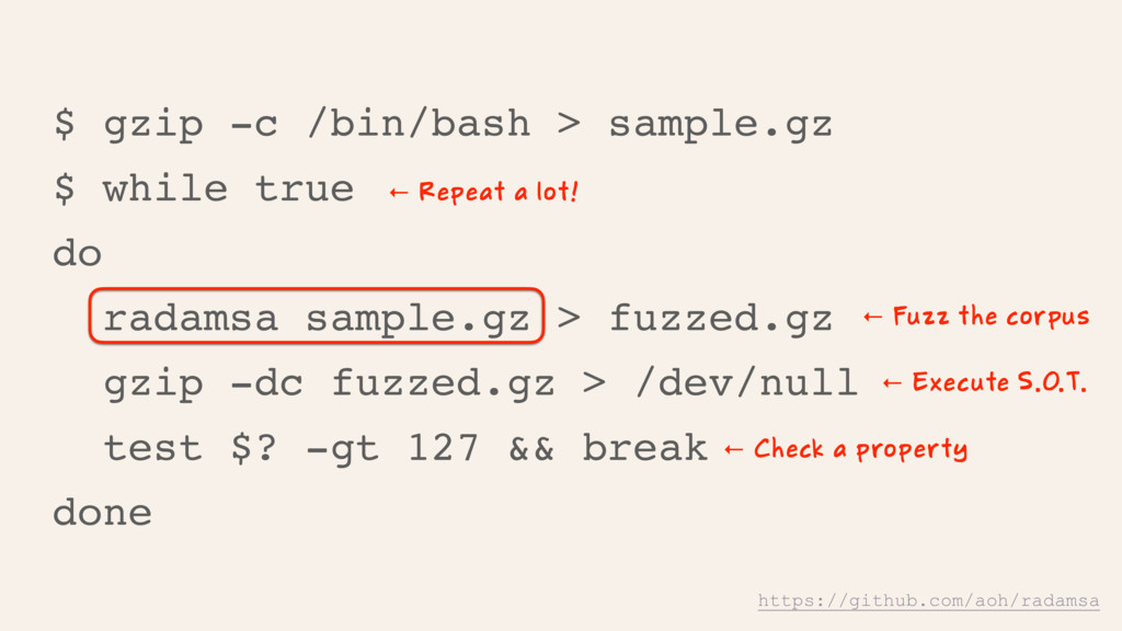$ gzip -c /bin/bash > sample.gz $ while true do...